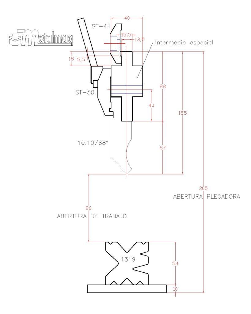 """Croquis general del """"retrofitting"""" realizado en una plegadora CERVERA"""